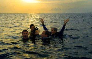 Four divers in water